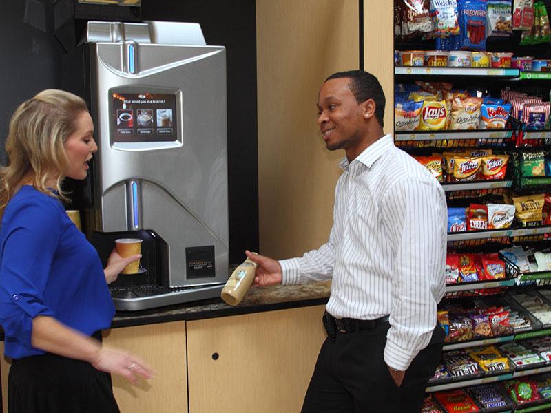 Employees enjoying an office micro-market
