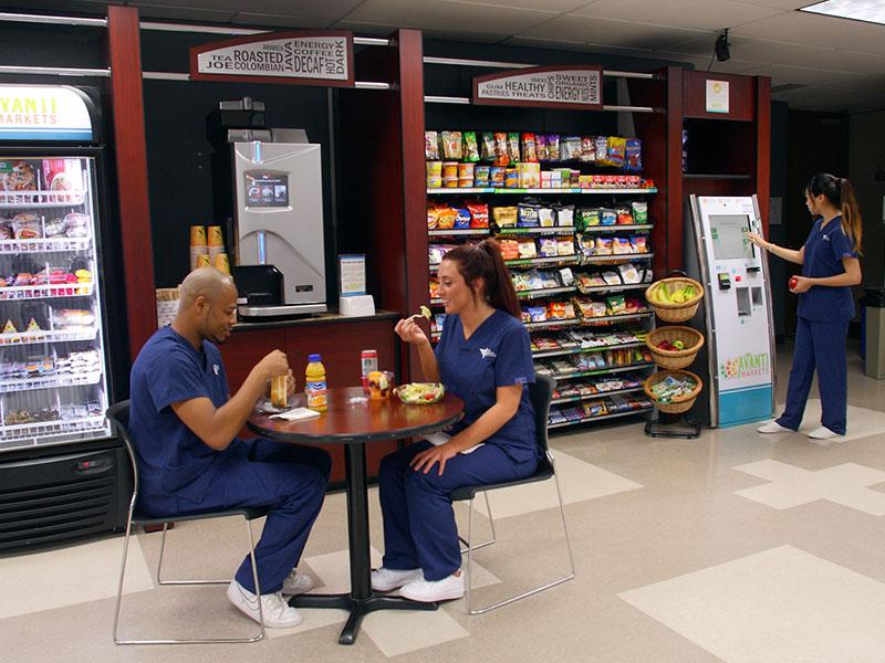 Employees enjoying a break in their micro-market